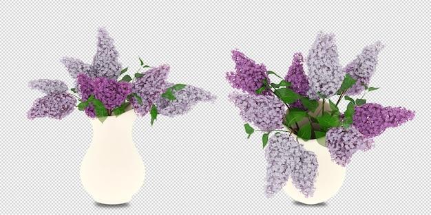 Цветы в вазе в 3d-рендеринге изолированные