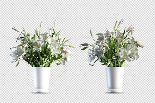 分離された3dレンダリングの花のモックアップ