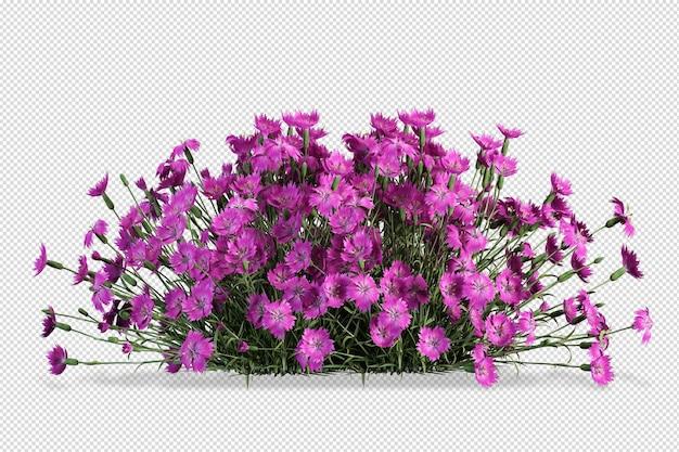 고립 된 3d 렌더링에서 꽃병 모형의 꽃