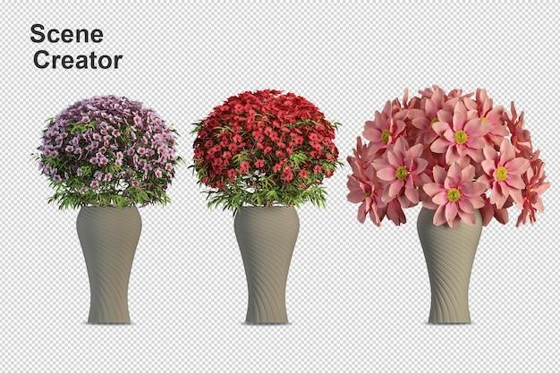 Цветы завод в вазе в 3d-рендеринге изолированные