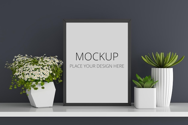 Flowers and succulent pots with frame mockup