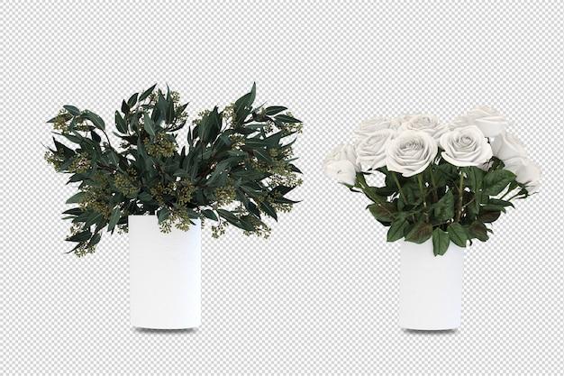 Flowers in vase in 3d rendering isolated