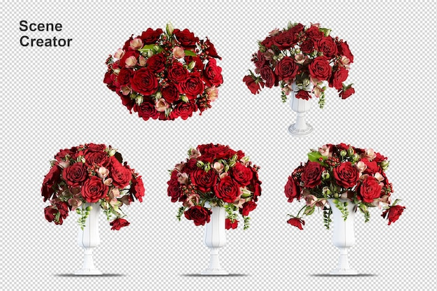 Flowers in vase in 3d rendering isolated