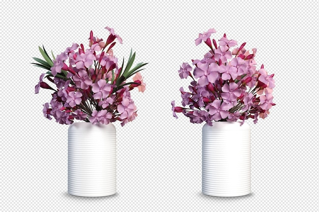 Flowers of vase mockup in 3d rendering isolated