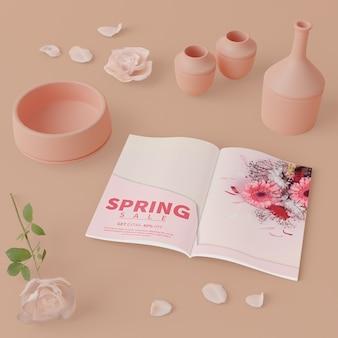春カードと3 dの花瓶