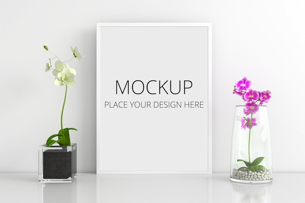Flowers in vases with frame mockup