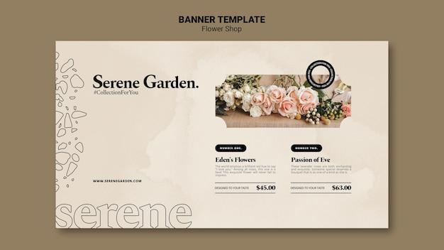 Flowershop horizontal banner template