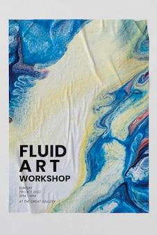 Fluid art poster  on the wall diy experimental art