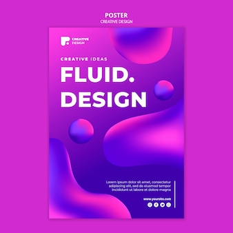 유체 디자인 포스터 템플릿