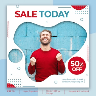 Fluid sale banner template psd