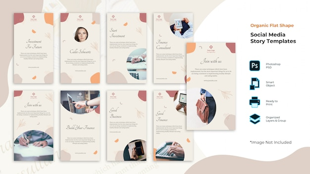Fluid shape social media stories collection template