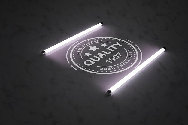 蛍光灯モックアップテンプレートロゴプレゼンテーション Premium Psd