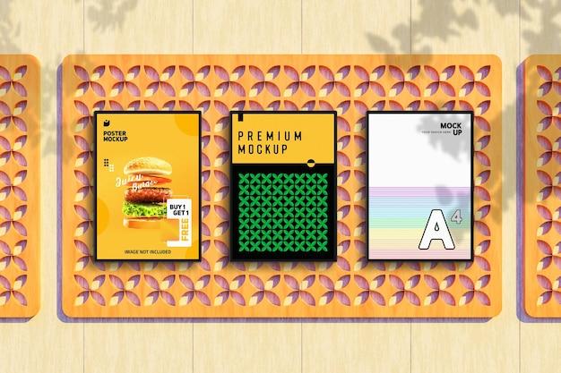 디자인을 보여주는 전단지 및 포스터 모형
