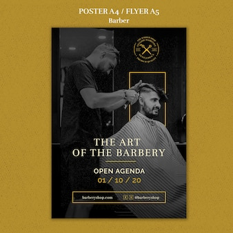 Modello di negozio di barbiere flyer