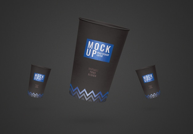 Flyer black cup mockup realistic