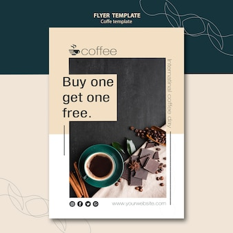 Flyer card template theme with coffee