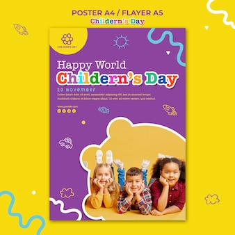 Flyer children's day template