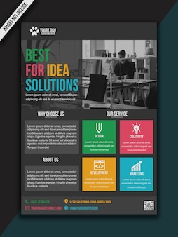 Flyer colorful modern bussiness brochure - a3 size