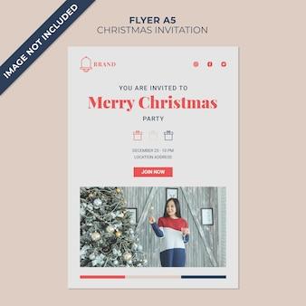 Шаблон обложки флаера для рождественского приглашения