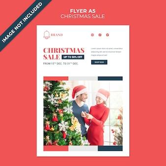 Шаблон обложки флаера для рождественской распродажи со скидкой