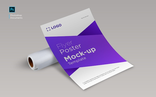 Flyer curve with paper roll mockup design template
