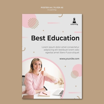 Flyer design e-learning concept