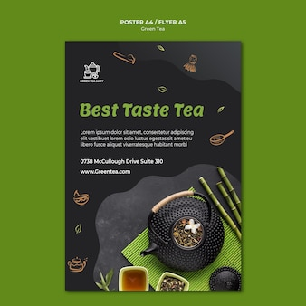 Flyer green tea template