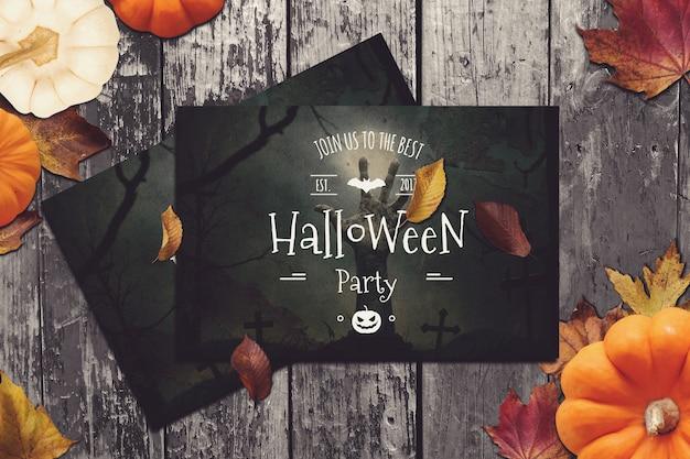 Flyer mockup with halloween design