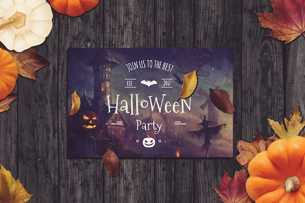 Flyer mockup with halloween design