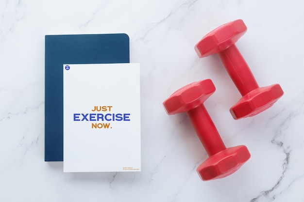 Flyer paper note mockup template and dumbells