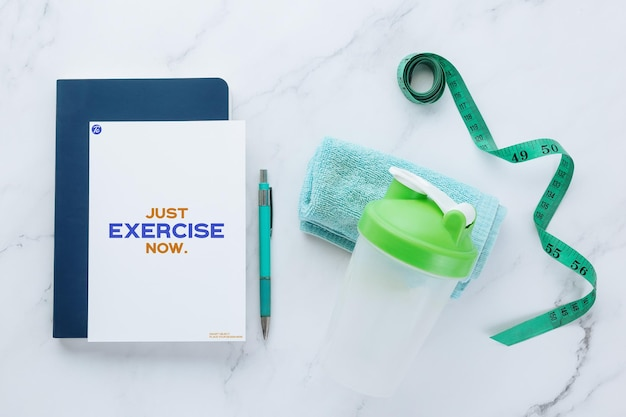 Flyer paper note mockup template and fitness equipments
