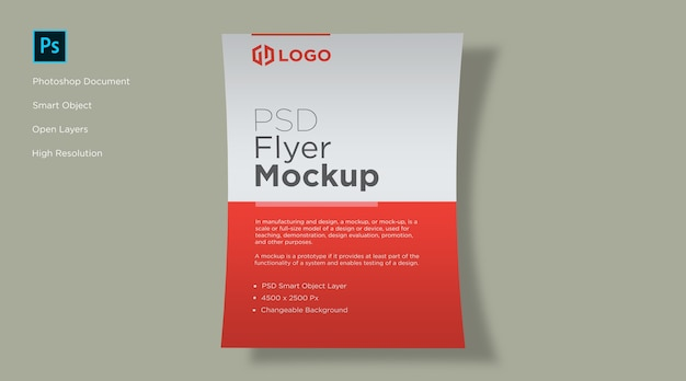 Flyer and poster curve mockup design Premium Psd