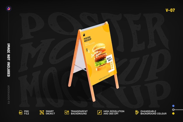 Flyer and poster stand mockup