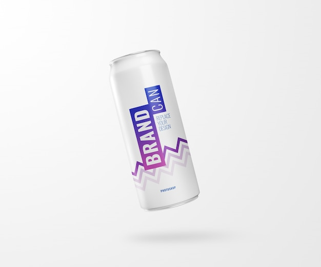Flyer slim soda can mockup realistic 3d rendering