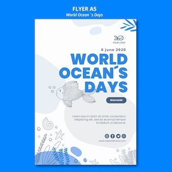 Flyer style world ocean's day