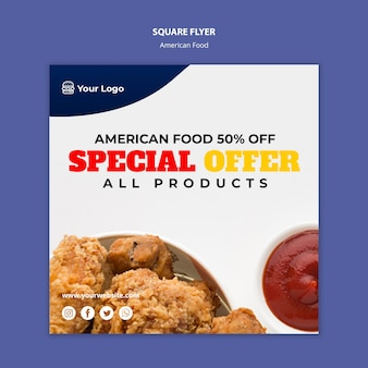 Flyer templatefor american food restaurant Free Psd