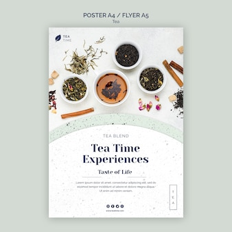 Flyer template for aromatic tea time