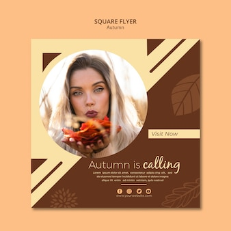 Flyer template for autumn is calling sales