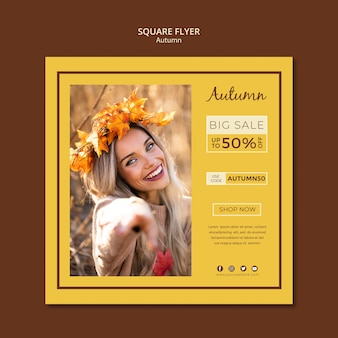 Flyer template for autumn sales and discounts