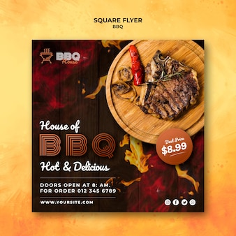Flyer template for barbecue