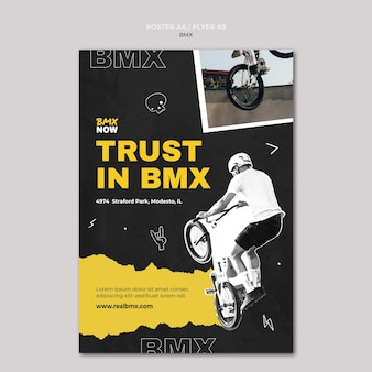 Flyer template for bmx biking with man and bicycle