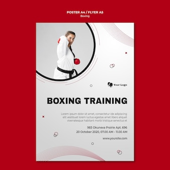 Modello di volantino per l'allenamento di boxe