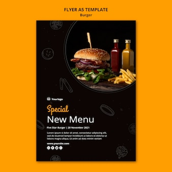Flyer template for burger bistro