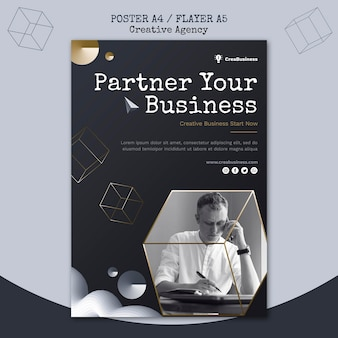 Flyer template for business partnering company Free Psd
