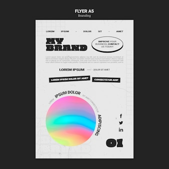 Flyer template for company branding with colorful circle shape