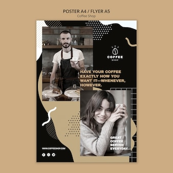 Flyer template concept for coffee shop