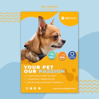 Flyer template concept for pet shop