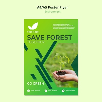 Flyer template concept of save the forest