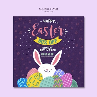 Flyer template concept with easter sales