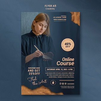 Flyer template for creative pottery workshop with woman